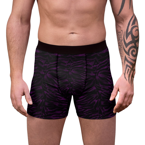 Deep Purple Black Tiger Striped Animal Print Sexy Hot Men's Boxer Briefs-Men's Underwear-Heidi Kimura Art LLC