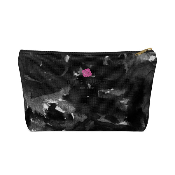 Black Rose Floral Print Designer Accessory Pouch with T-bottom Makeup Bag-Accessory Pouch-Black-Large-Heidi Kimura Art LLC