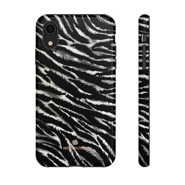 White Tiger Stripe Phone Case, Animal Print Tough Designer Phone Case -Made in USA-Phone Case-Printify-iPhone XR-Glossy-Heidi Kimura Art LLC