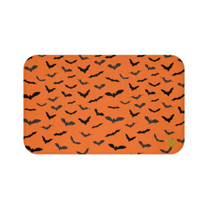 Orange Black Flying Bats Designer Halloween Bath Mat-Made in USA-Bath Mat-Large 34x21-Heidi Kimura Art LLC