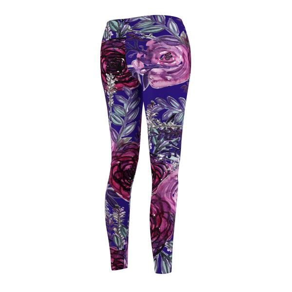 Royal Purple Floral Flower Print Women's Tights / Casual Leggings - Made in USA-Casual Leggings-Heidi Kimura Art LLC