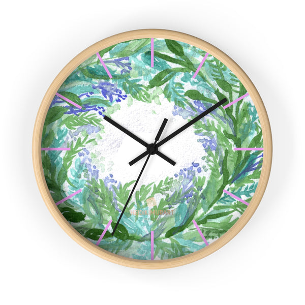 Violet Purple Pastel Color French Lavender 10 in. Dia. Indoor Wall Clock- Made in USA-Wall Clock-10 in-Wooden-Black-Heidi Kimura Art LLC