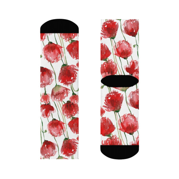 Red Poppy Floral Print Socks, Unisex Designer Premium Quality Crew Socks - Designed in USA-Socks-Heidi Kimura Art LLC