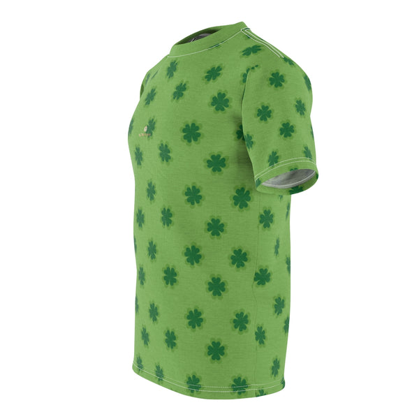 Light Green Clover St. Patrick's Day Print Unisex Crew Neck Cut & Sew Tee- Made in USA-Unisex T-Shirt-Heidi Kimura Art LLC