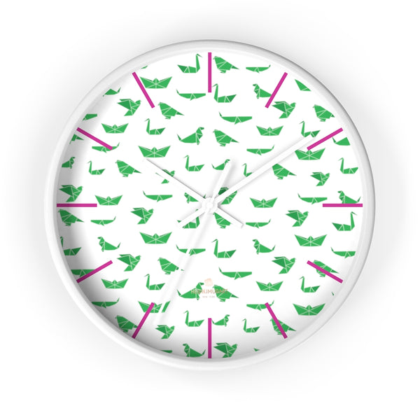 "White Green Japanese Crane Print Large Unique 10"" Diameter Wall Clocks- Made in USA-Wall Clock-10 in-White-White-Heidi Kimura Art LLC"
