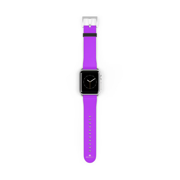 Purple Solid Color Print 38mm/42mm Watch Band For Apple Watches- Made in USA-Watch Band-38 mm-Silver Matte-Heidi Kimura Art LLC