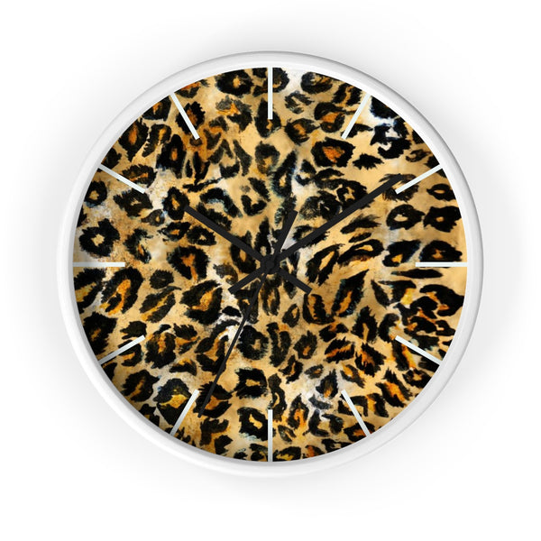 "Brown Leopard Print Wall Clock, Animal Print Pattern 10"" Dia. Indoor Clock-Made in USA-Wall Clock-White-Black-Heidi Kimura Art LLC"
