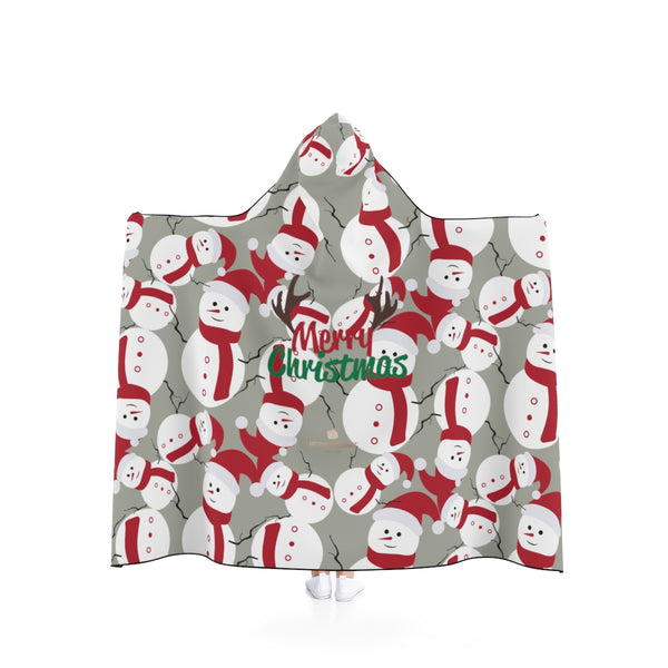 Gray Lightweight Christmas Red Snowman Designer Holiday Party Hooded Blanket-Hooded Blanket-50x40-Heidi Kimura Art LLC
