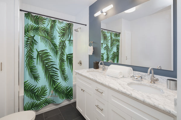 "Light Blue Green Hawaiian Jungle Tropical Palm Tree Leaf Print Shower Curtains-Shower Curtain-71"" x 74""-Heidi Kimura Art LLC Light Blue Tropical Shower Curtains, Light Blue and Green Tropical Tree Palm Leaf Print Designer Shower Curtains - Printed in USA, Premium Bathroom Shower Curtains, Home Decor, Large 100% Polyester 71x74 inches Shower Curtains, Bathroom Shower Curtains, Jungle Hawaiian Summer Nature Print"