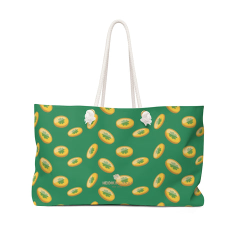 "Dark Green Gold Coins St. Patrick's Day Irish Print 24""x13""Weekender Bag- Made in USA-Weekender Bag-24x13-Heidi Kimura Art LLC"