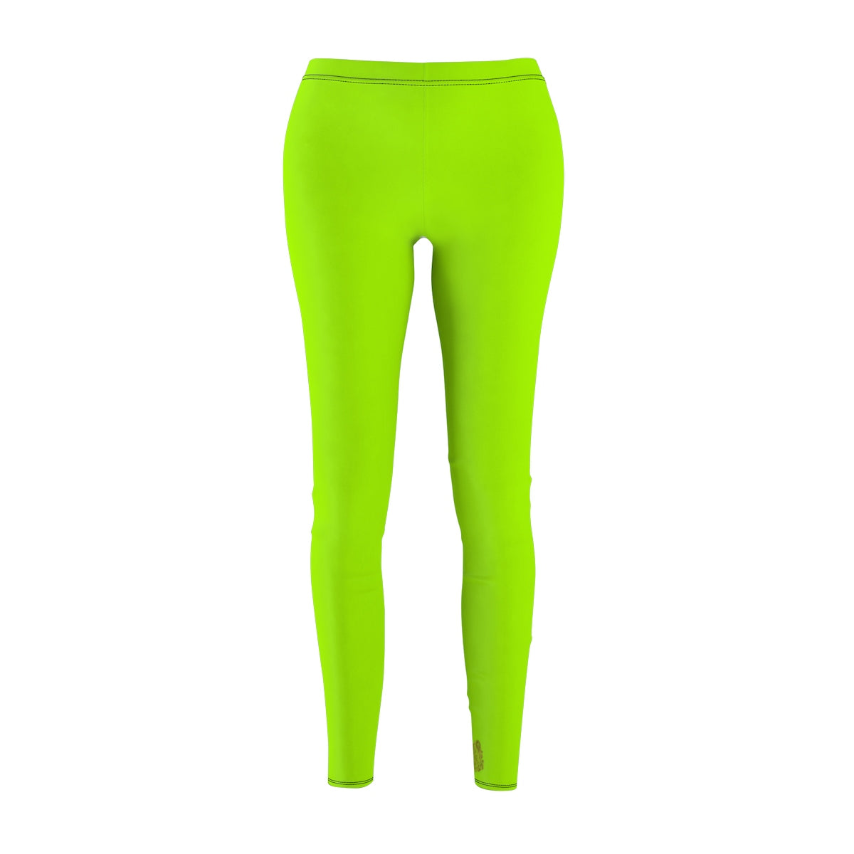Lime Neon Green Solid Color Print Women's Long Casual Leggings- Made in USA-Casual Leggings-White Seams-M-Heidi Kimura Art LLC