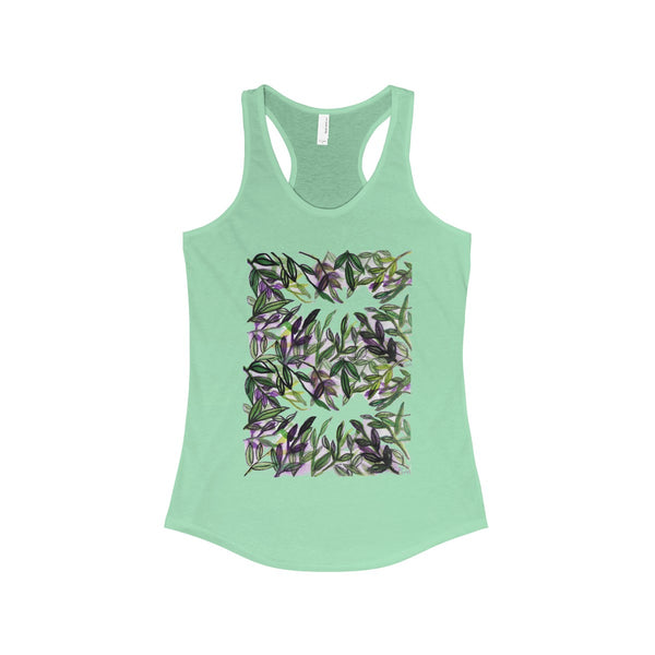 Tropical Leaves Vacation Floral Women's Ideal Racerback Tank - Made in the U.S.A.-Tank Top-Solid Mint-XS-Heidi Kimura Art LLC
