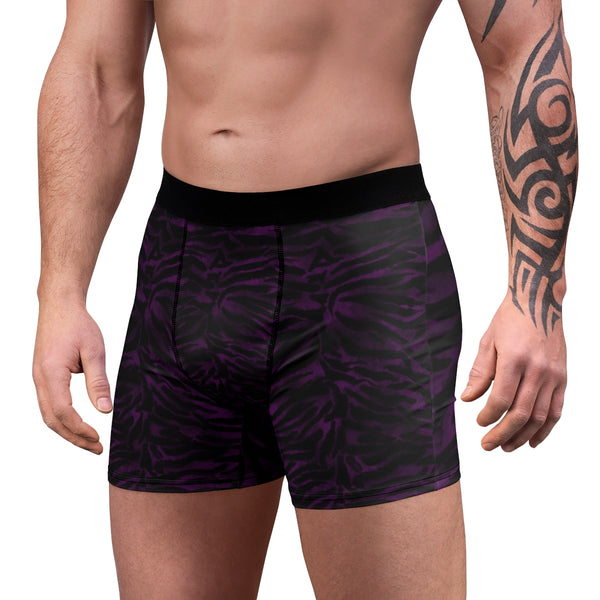 Deep Purple Black Tiger Striped Animal Print Sexy Hot Men's Boxer Briefs-Men's Underwear-Heidi Kimura Art LLC Purple Tiger Striped Men's Trunks, Purple Black Tiger Striped Animal Print Sexy Hot Men's Boxer Briefs Hipster Lightweight 2-sided Soft Fleece Lined Fit Underwear - (US Size: XS-3XL)