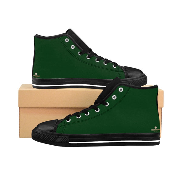 Emerald Dark Green Solid Color Print Premium Quality Men's High-Top Sneakers-Men's High Top Sneakers-Black-US 9-Heidi Kimura Art LLC