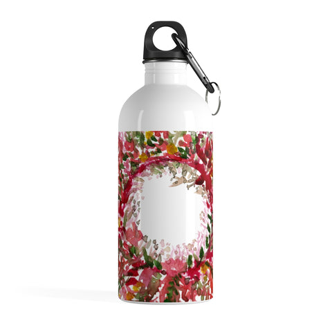 Red Floral Print Stainless Steel 14 oz. Designer Water Bottle - Made in the USA-Mug-14oz-Heidi Kimura Art LLC