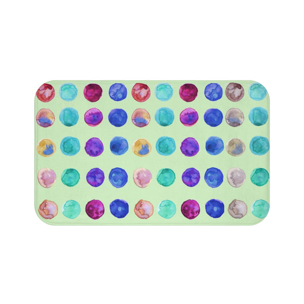 Pastel Green Polka Dot Print Pastel Colorful Cute Best Designer Bath Mat - Made in USA-Bath Mat-Large 34x21-Heidi Kimura Art LLC