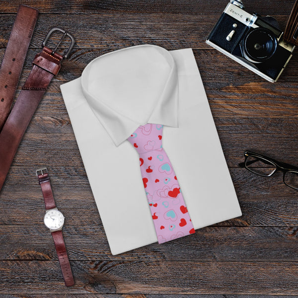 Light Pink Red Heart Shaped Print Valentine's Day Designer Necktie- Made in USA-Necktie-One Size-Heidi Kimura Art LLC