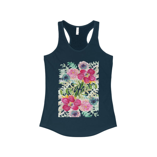 Pink Rose Bouquet Floral Print Women's Ideal Racerback Tank - Made in USA-Tank Top-Solid Midnight Navy-XS-Heidi Kimura Art LLC