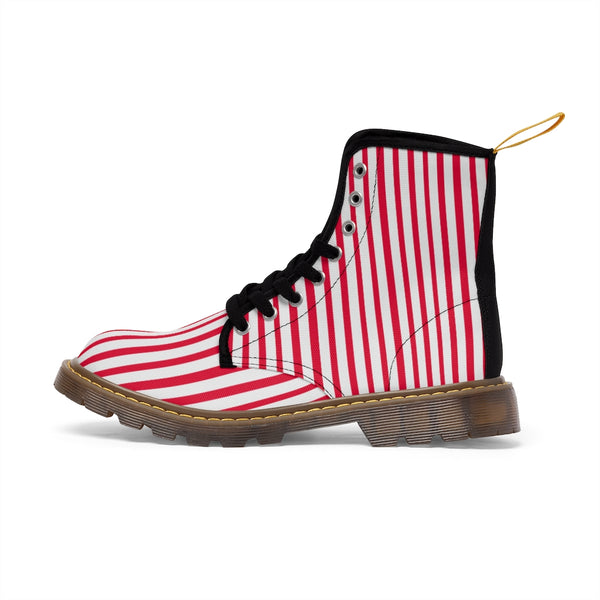 Red Striped Print Men's Boots, White Red Stripes Best Hiking Winter Boots Laced Up Shoes For Men-Shoes-Printify-Heidi Kimura Art LLC