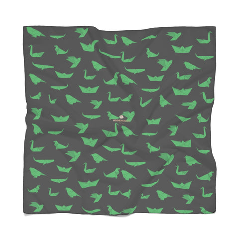 "Black Japanese Poly Scarf, Cute Fashion Accessories For Men/Women- Made in USA-Accessories-Printify-Poly Voile-25 x 25 in-Heidi Kimura Art LLC  Black Japanese Poly Scarf, Cute Green Crane Birds Print Lightweight Delicate Sheer Poly Voile or Poly Chiffon 25""x25"" or 50""x50"" Luxury Designer Fashion Accessories- Made in USA, Fashion Sheer Soft Light Polyester Square Scarf"