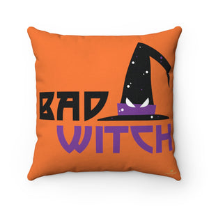 "Witch Halloween Pillow, Bad Witch Premium Spun Polyester Square Pillow - Made in USA-Pillow-14"" x 14""-Heidi Kimura Art LLC"