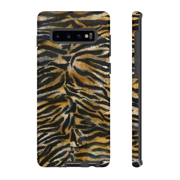 Brown Tiger Striped Tough Cases, Animal Print Best Designer Phone Case-Made in USA-Phone Case-Printify-Samsung Galaxy S10 Plus-Glossy-Heidi Kimura Art LLC