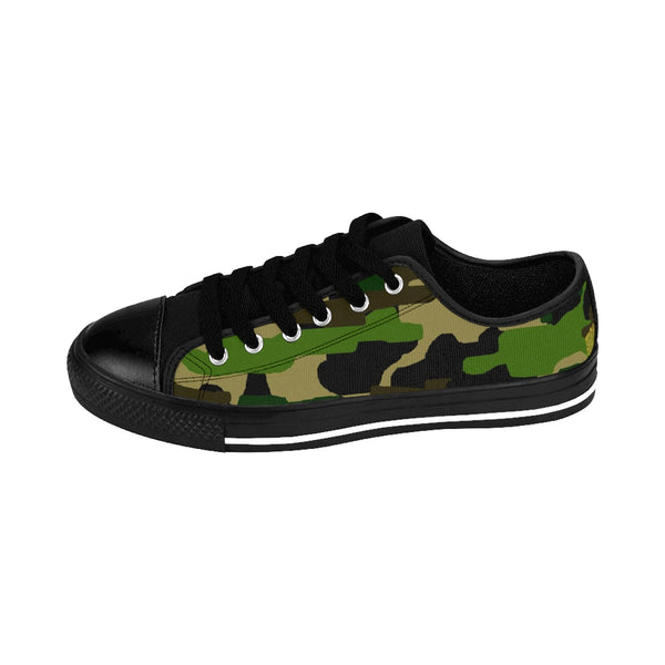 Military Army Green Camouflage Print Low Top Women's Running Sneakers Shoes-Women's Low Top Sneakers-Heidi Kimura Art LLC