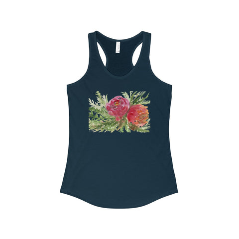 Omori Red Orange Rose Floral Women's Ideal Racerback Tank - Made in U.S.A. (US Size: XS-2XL)-Tank Top-Solid Midnight Navy-XS-Heidi Kimura Art LLC Watercolor Flower Tank, Red Orange Rose Floral Women's Ideal Racerback Tank - Made in U.S.A. (US Size: XS-2XL)
