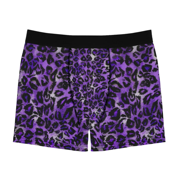 Purple Leopard Men's Boxer Briefs, Animal Print Elastic Sexy Fetish Underwear For Men-All Over Prints-Printify-Heidi Kimura Art LLC