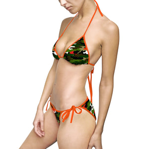 Orange Green Camouflage Camo Military Army Print Women's Bikini Set (US Size: S-5XL)-Bikini-Orange-M-Heidi Kimura Art LLC