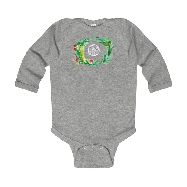 Fall Floral Print Baby's Infant Cotton Long Sleeve Bodysuit -Made in UK (UK Size: 6M-24M)-Kids clothes-Heather-12M-Heidi Kimura Art LLC