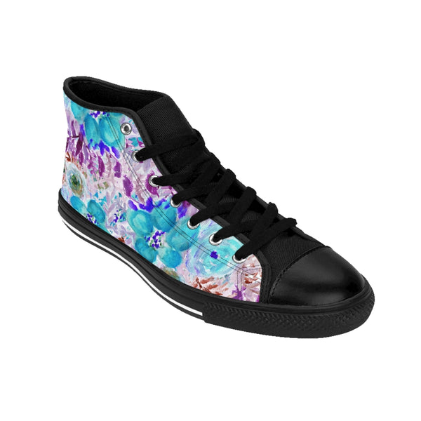 Blue Floral Women's Sneakers, Flower Print Designer High-top Sneakers Tennis Shoes-Shoes-Printify-Heidi Kimura Art LLC