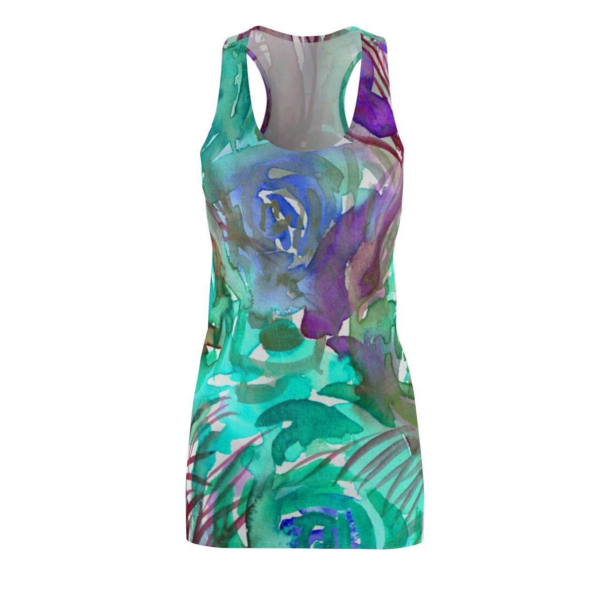 Blue Purple Rose Floral Print Women's Racerback Dress (US Size: XS-2XL) Made in USA-Women's Sleeveless Dress-L-Heidi Kimura Art LLC