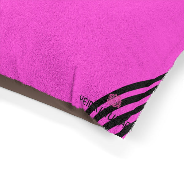 "Best Pink Striped Pet Bed, Bright Colorful Best Striped Dog Indoor Pet Bed Modern Minimalist Designer Luxury Print Deluxe 28""x18"", 40""x30"", 50""x40"""