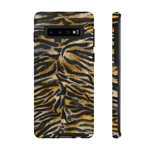 Brown Tiger Striped Tough Cases, Animal Print Best Designer Phone Case-Made in USA-Phone Case-Printify-Samsung Galaxy S10-Glossy-Heidi Kimura Art LLC