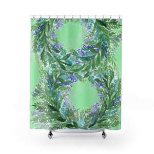 "Pastel Green French Lavender Floral Print Designer Polyester Shower Curtains- Made in USA-Shower Curtain-71"" x 74""-Heidi Kimura Art LLC Pastel Lavender Bath Curtains, Pastel Green French Lavender Floral Print Designer Polyester Shower Curtains- Printed in USA, Polyester Large 100% Polyester 71x74 inches Shower Curtains"