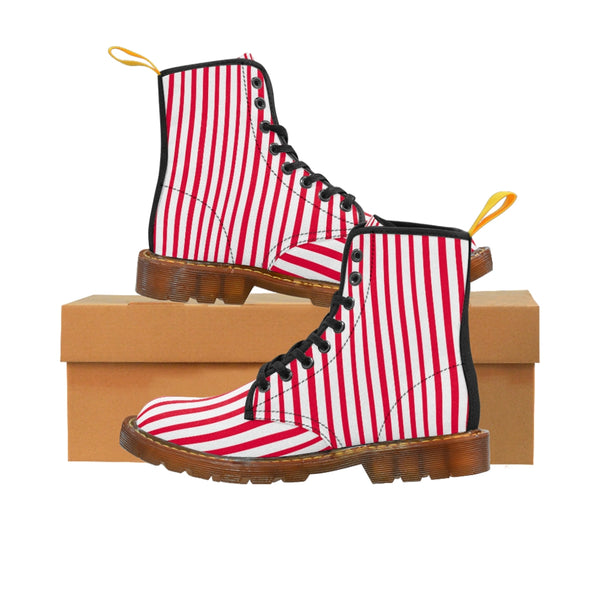 Red Striped Print Men's Boots, White Red Stripes Best Hiking Winter Boots Laced Up Shoes For Men-Shoes-Printify-Brown-US 8-Heidi Kimura Art LLC