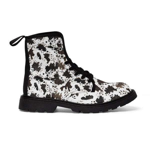 Brown Cow Print Animal Pattern Nylon Canvas Women's Winter Boots Shoes-Women's Boots-Heidi Kimura Art LLC