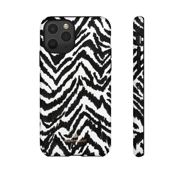 White Tiger Stripe Phone Case, Animal Print Best Tough Designer Phone Case -Made in USA-Phone Case-Printify-iPhone 11 Pro-Glossy-Heidi Kimura Art LLC