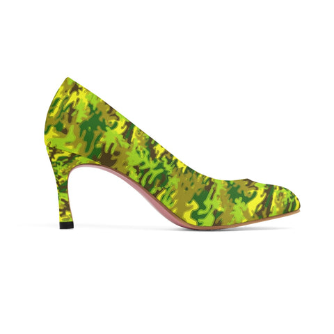 Yellow Green White Camo Military Army Print Premium Women's High Heels Shoes-3 inch Heels-US 7-Heidi Kimura Art LLC Yellow Green Camo Heels, Yellow & Green White Camo Military Army Print Premium Women's 3 inch Designer High Heels Shoes Stylish Pumps, Camouflage Heels, Camo Heels, Camo Shoes, Green Camo Heel, Army Camo High Heels, Camouflage High Heel Shoes (US Size: 5-11)
