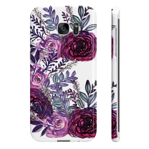 White Purple Rose Slim iPhone/ Samsung Galaxy Floral Print Phone Case, Made in UK-Phone Case-Samsung Galaxy S7 Edge Slim-Glossy-Heidi Kimura Art LLC