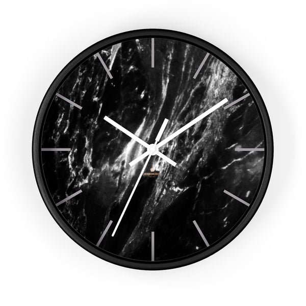 Elegant Black & White Marble Print Art Large Indoor Designer Wall Clock-Made in USA-Wall Clock-10 in-Black-White-Heidi Kimura Art LLC