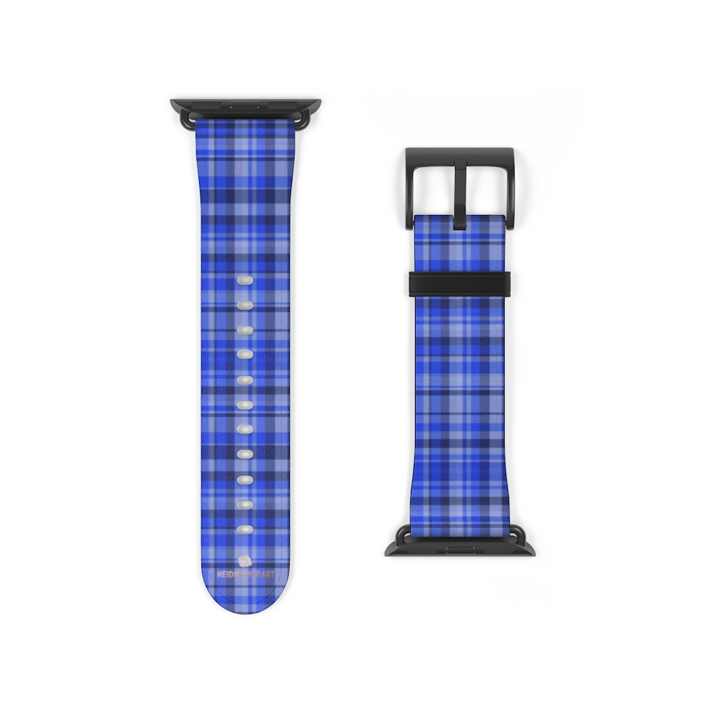 Blue Plaid Tartan Scottish Print 38mm/42mm Watch Band For Apple Watch- Made in USA-Watch Band-38 mm-Black Matte-Heidi Kimura Art LLC