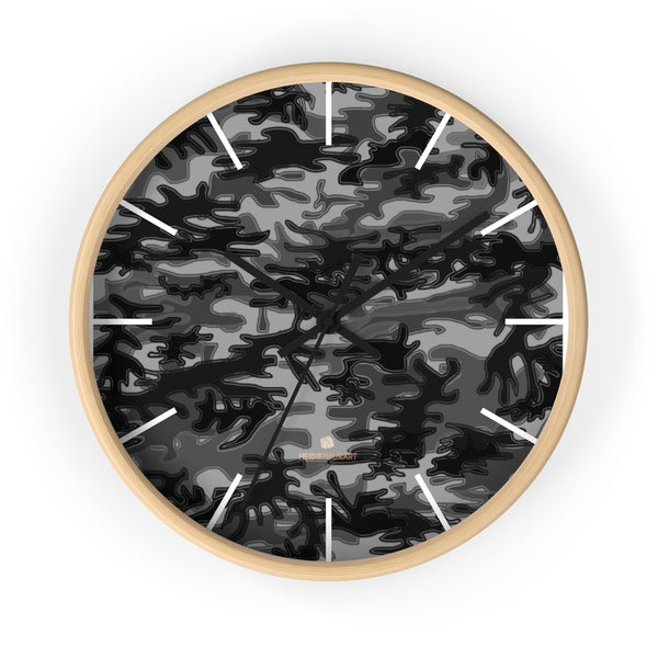 "Gray Camo Camouflage Military Army Print Large Unique 10"" Dia. Wall Clocks- Made in USA-Wall Clock-10 in-Wooden-Black-Heidi Kimura Art LLC"