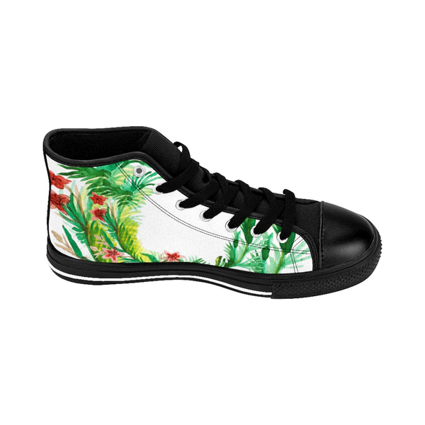 Red Floral Print Designer Men's High-top Sneakers Running Tennis Fashion Running Shoes-Men's High Top Sneakers-Black-US 9-Heidi Kimura Art LLC