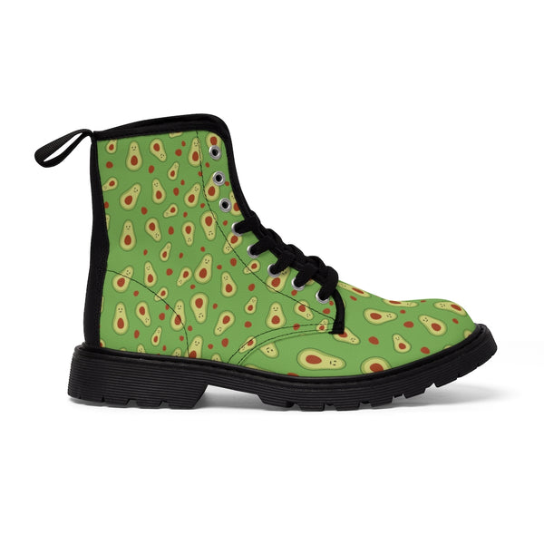 Avocado Women's Canvas Boots, Green Avocado Casual Fashion Gifts, Avocado Shoes For Vegan Lovers, Combat Boots, Designer Women's Winter Lace-up Toe Cap Hiking Boots Shoes For Women (US Size 6.5-11)