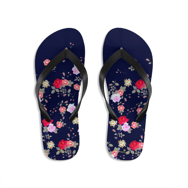 Navy Blue Floral Rose Print Unisex Flip-Flops Beach Pool Cute Sandals- Made in USA-Flip-Flops-Large-Heidi Kimura Art LLC