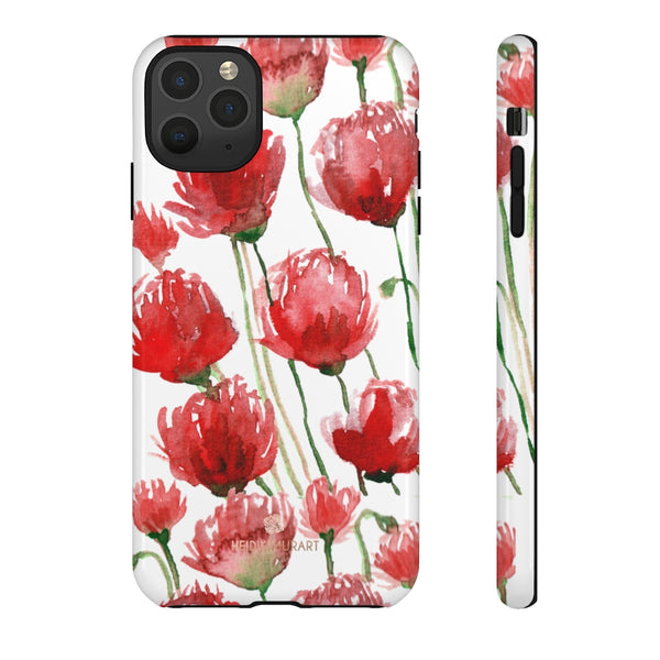Red Tulips Floral Tough Cases, Roses Flower Print Best Designer Phone Case-Made in USA-Phone Case-Printify-iPhone 11 Pro Max-Glossy-Heidi Kimura Art LLC
