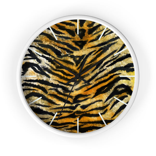 "Stylish Tiger Stripe Faux Fur Pattern Animal Print 10"" Diameter Wall Clock - Made in USA-Wall Clock-White-Black-Heidi Kimura Art LLC"