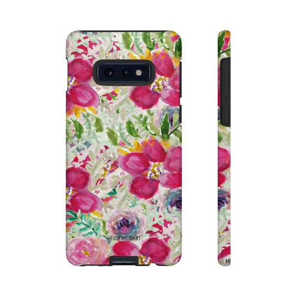 Pink Floral Designer Tough Cases, Mixed Flower Print iPhone Samsung Case-Made in USA